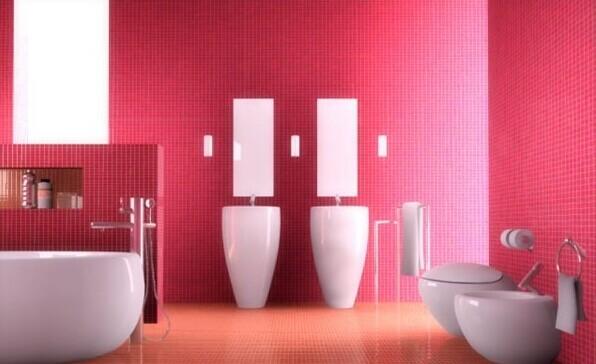 卫浴洁具打造可爱粉色系卫浴设计