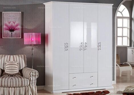 韩菲尔欧式简约白色四门时尚衣柜