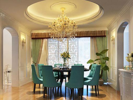 法式风格餐厅装修效果图 餐厅中蓝色的餐桌椅显得尤为抢眼,空间以餐桌为中心,圆形的吊顶搭配简洁的灯盘,奢华复古的吊灯,显得优雅而华丽,温情而贵气。撞色搭配的窗帘,为空间注入了活泼、生趣的气息,给人以柔和的美感。