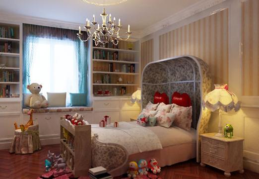 法式风格儿童房装修效果图 毛绒玩具与粉色是每个女孩生活中必不可少的。米色条纹背景墙与粉红色温暖的地毯为房间增色。造型别致的床头,以及花朵的图案,让空间充满生机和童话感。在这里充满了家人对孩子满满的爱,满满的幸福。 信息整理:中国建材家居网厨房橱柜十大品牌专题小编整理报道