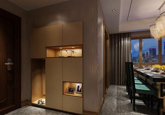 """二、转角型嵌入玄关柜,纯白色百叶纹设计,简欧风格,柜子上下左右对称设计。这款玄关柜给人第一印象便是""""海纳百川"""",看得见的收纳空间。"""