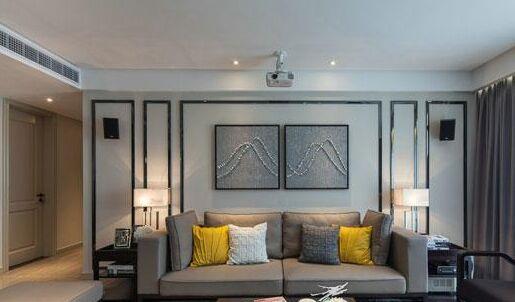 客厅的沙发背景以简单的金属框架构成层次感
