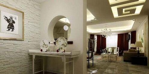 新中式风格别墅过道       别墅装修走廊过道,在局部墙面夹杂