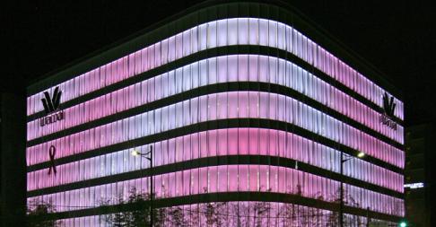 知名品牌企业华歌尔 采用LED灯打造企业外墙