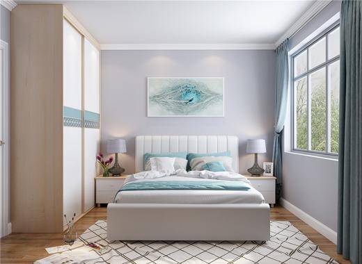 无论是正方形还是长方形的卧室,都十分适合;如果放置衣柜那面墙与床的图片