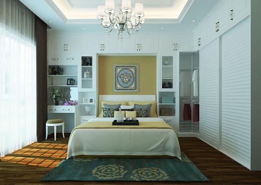 """第四种:""""隔壁家""""的衣柜   见过客厅的隔断间,也见过阳台的""""另一间房"""",其实卧室也可以""""别有洞天"""",利用假门将卧室空间一分为二,在独立的区域设计更衣区,打造小型""""衣帽间""""。定制可以根据空间的大小设计内部分隔,加入自己想要的元素,十分方便。"""