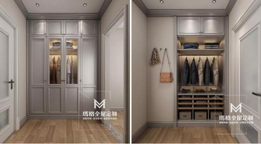 卧室进门两侧,利用墙体设计嵌入式的衣柜,形成小型的