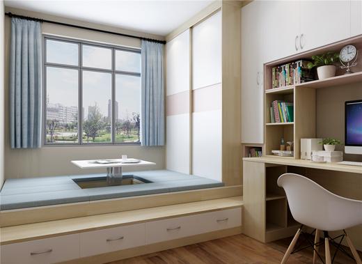 榻榻米,衣柜,書柜,轉角書桌一體設計,空間利用率高,功能豐富多樣;這里