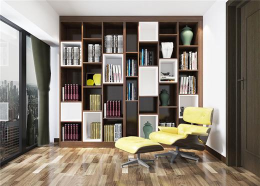 开放式书柜款式很多,可以根据不同的家装风格和个人的需求,来选择适合图片
