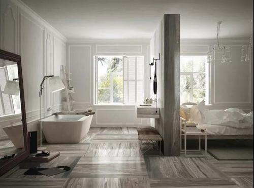 轻奢风格最经典的CP:实木+石材