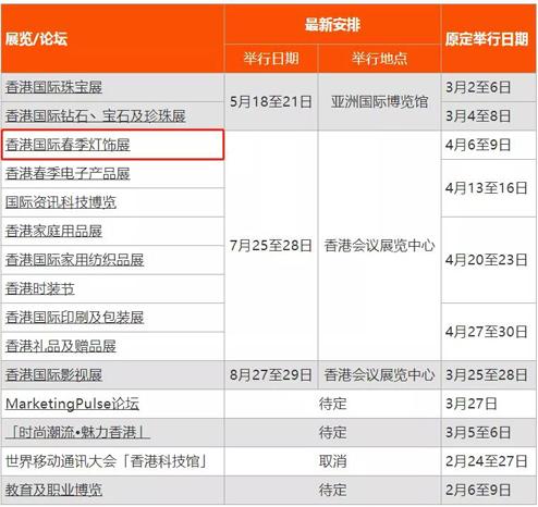 官宣!2020香港春季灯饰展延期至7月举行
